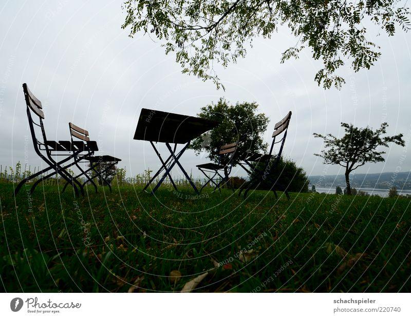 Alle zuhause ... Natur Himmel Baum Blatt Einsamkeit Ferne Wiese Herbst Gras Traurigkeit Landschaft Metall sitzen Tisch Stuhl Vergänglichkeit
