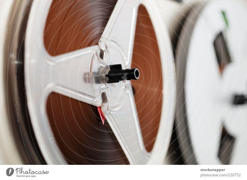 Vintage-Bandgerät altehrwürdig Musikkassette Schreiber Rolle Rollen Spule Rolle-zu-Rolle Audio Klang HiFi Elektronik Gerät magnetisch Geräusch Nahaufnahme