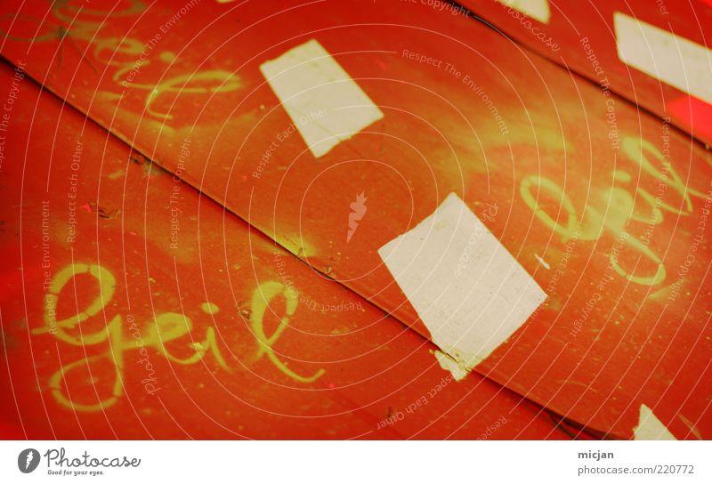 Oops |Almost Forgotten rot Freude gelb Graffiti Glück Farbstoff Metall Kunst orange Tisch Schriftzeichen Perspektive Coolness gut fantastisch Kasten