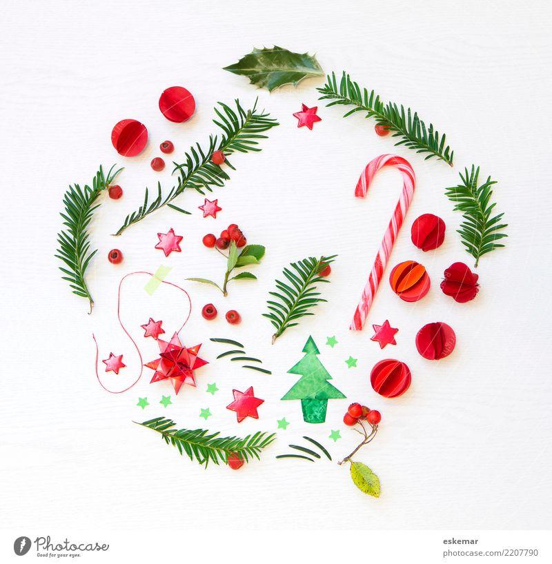 runde Weihnachten Zuckerstange candy cane Dekoration & Verzierung Feste & Feiern Weihnachten & Advent Christbaumkugel Stern (Symbol) Pflanze Baum Blatt Beeren
