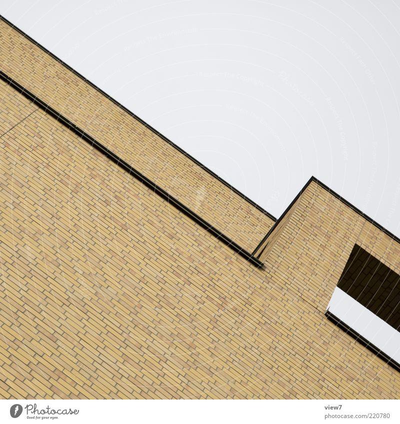 Ziegelwerk Haus Wand oben Stein Mauer Architektur elegant Fassade Perspektive modern Ordnung ästhetisch Dach einfach rein