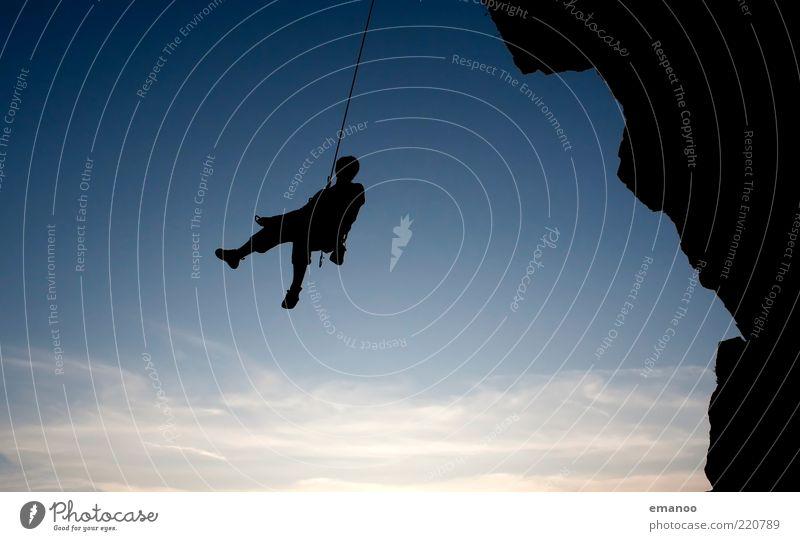 rumhängen Lifestyle Freizeit & Hobby Abenteuer Freiheit Sport Klettern Bergsteigen Sportler Mensch maskulin 1 Natur Felsen Berge u. Gebirge schaukeln sitzen