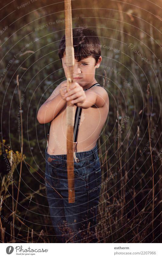 Bogenschütze Junge Lifestyle Spielen Jagd Ferien & Urlaub & Reisen Abenteuer Freiheit Mensch maskulin Kind Kleinkind Kindheit 1 3-8 Jahre Bewegung Fitness