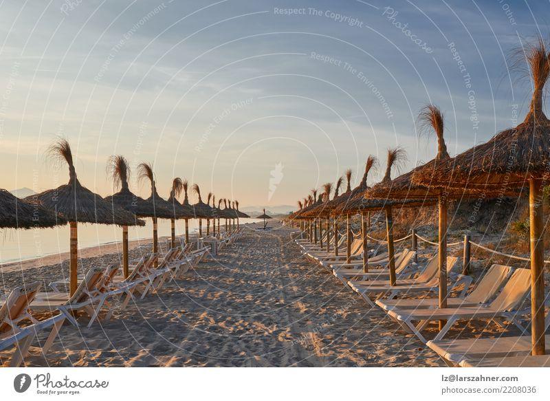 Sonnenaufgang auf einem Erholungsortstrand mit Regenschirmen exotisch Freizeit & Hobby Ferien & Urlaub & Reisen Tourismus Sommer Strand Meer Stuhl Landschaft
