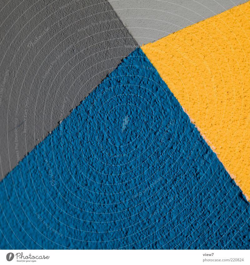 komplementär schön blau gelb Farbe Wand grau Stein Mauer Linie Design elegant Beton Fassade frisch Perspektive modern