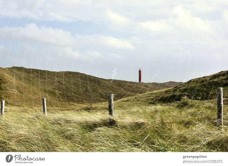 Leuchtturm Julianadorp - Blick aus den Dünen Umwelt Natur Landschaft Wasser Wolken Sommer Gras Küste Strand Meer Nordsee nordisch Stranddüne Dünengras