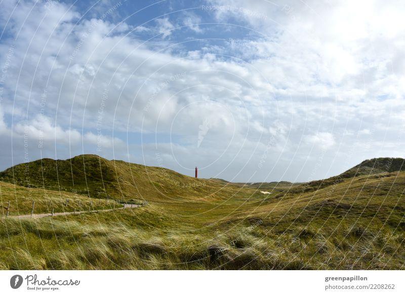Leuchfeuer Niederlande - Groote Kaap in Julianadorp Natur Landschaft Pflanze Sand Himmel Wolken Gras Sträucher Küste Strand Nordsee Meer Europa Dorf Turm