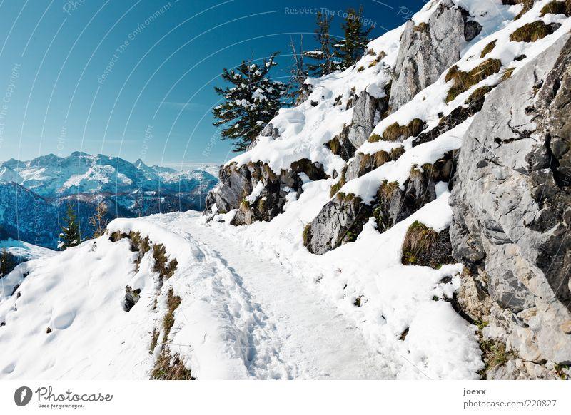 Gefährlich Natur Himmel Wolkenloser Himmel Winter Klima Wetter Schönes Wetter Eis Frost Schnee Felsen Alpen Berge u. Gebirge Schneebedeckte Gipfel Wege & Pfade
