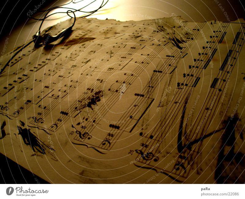 Notenblatt alt Musik Papier Kopfhörer Musiknoten