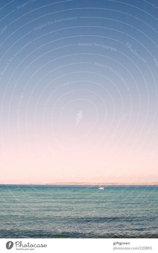 allein auf hoher see Segeln Umwelt Natur Landschaft Urelemente Wasser Himmel Wolkenloser Himmel Horizont Sonnenaufgang Sonnenuntergang Sommer Wetter