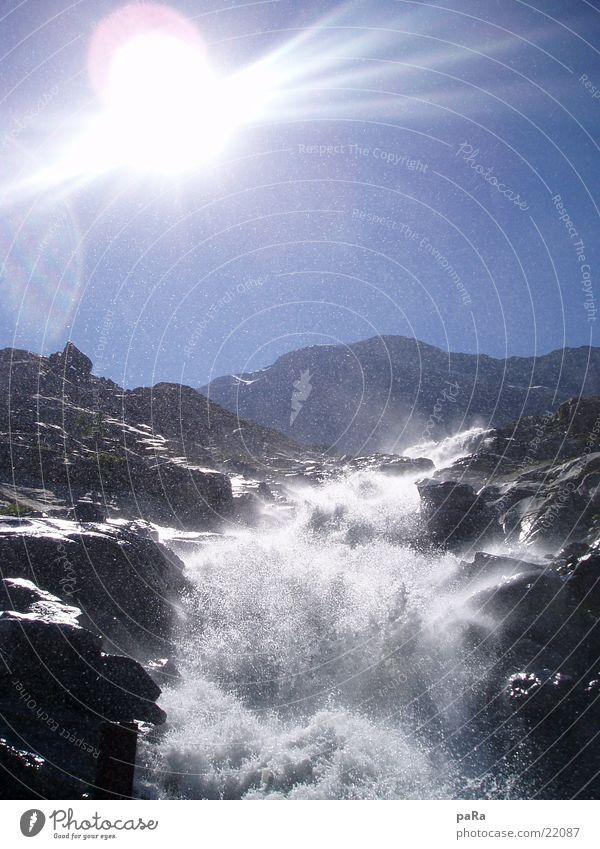 Mattmark Fall Sonne Sommer Berge u. Gebirge Europa Schweiz Alpen Bach Wasserfall Kanton Wallis Saas-Grund