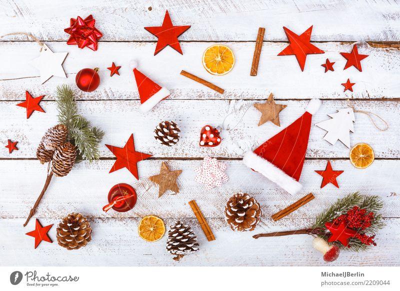 Weihnachten Elemente der Dekoration und Essen Winter Weihnachten & Advent rot weiß chaotisch arrangiert Grunge Dekoration & Verzierung Süßwaren Zimt Mütze