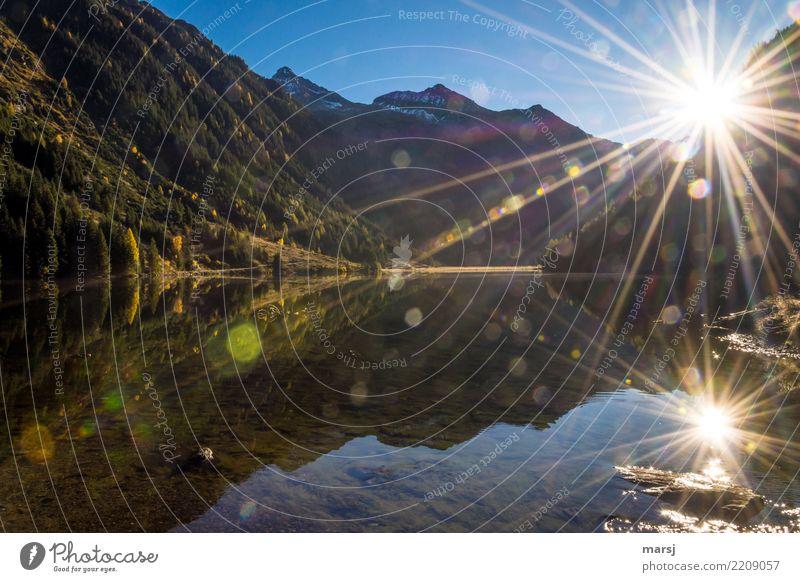 Herbstliche Doppelsonne Natur Sonne Sommer Schönes Wetter See Riesachsee Gebirgssee Sonnenstern leuchten außergewöhnlich Reflexion & Spiegelung Blendeneffekt