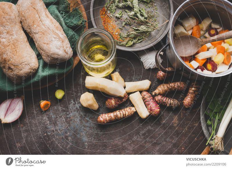 Kochen mit Topinambur Lebensmittel Gemüse Suppe Eintopf Kräuter & Gewürze Ernährung Mittagessen Abendessen Bioprodukte Vegetarische Ernährung Diät Geschirr Topf