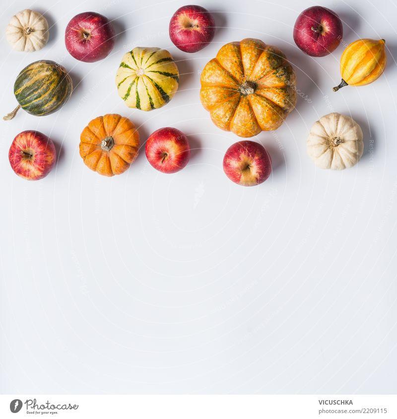 Kleine Kürbisse und Äpfel Gemüse Stil Design Garten Erntedankfest Halloween Natur Hintergrundbild Composing Apfel Stillleben Herbst Lebensmittel Bioprodukte