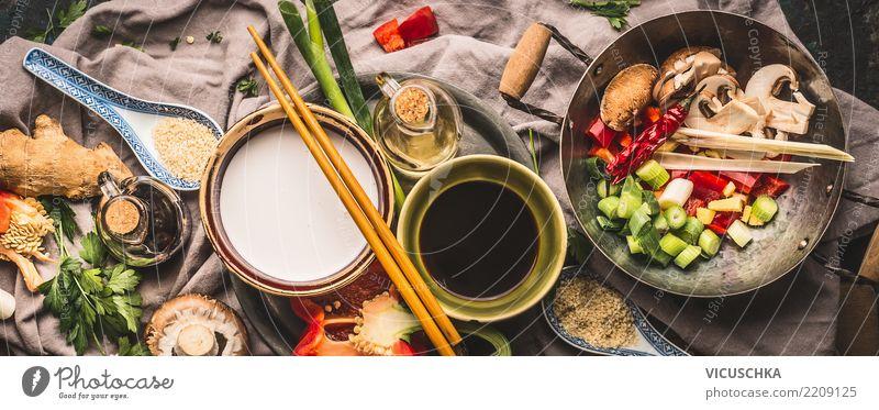 Vegetarische Stir Fry Zutaten mit Kokosmilch Lebensmittel Gemüse Kräuter & Gewürze Öl Ernährung Mittagessen Bioprodukte Vegetarische Ernährung Diät