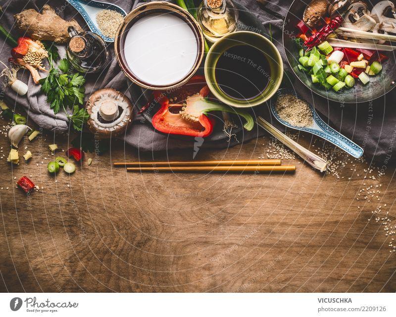 Zutaten für Asiatische Küche Lebensmittel Gemüse Kräuter & Gewürze Ernährung Bioprodukte Vegetarische Ernährung Diät Geschirr Schalen & Schüsseln Stil Design