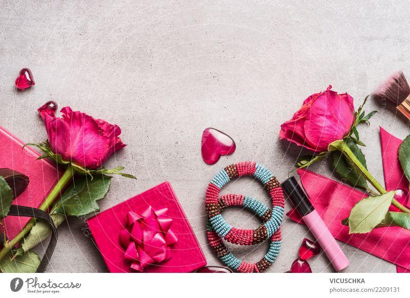 Damen Accessoires zum Valentinstag Freude Hintergrundbild Liebe Gefühle feminin Stil Feste & Feiern Party rosa Design retro Dekoration & Verzierung Herz