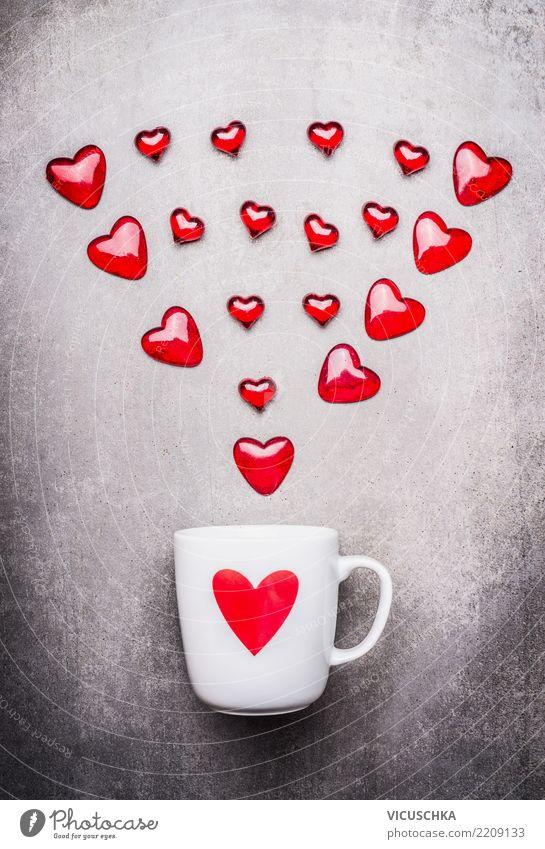 Weiße Tasse mit Herzen Lifestyle Stil Design Feste & Feiern Valentinstag Muttertag Geburtstag Dekoration & Verzierung Ornament Liebe Gefühle Verliebtheit