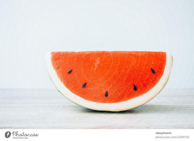 Rote Wassermelone des Musters auf Hintergrund. Flache Lage, Draufsicht Frucht Dessert Ernährung Vegetarische Ernährung Diät Sommer Natur frisch lecker natürlich