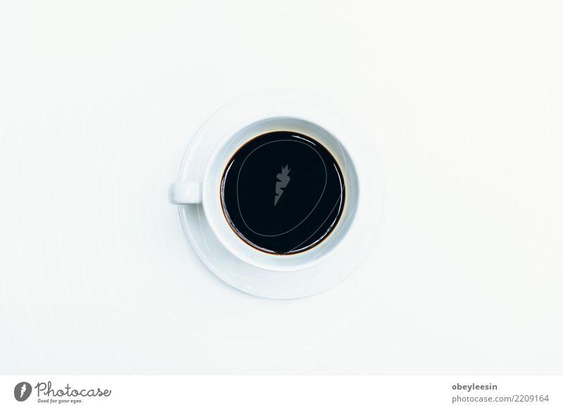 Tasse Kaffee für Morgen, Draufsicht Frühstück Getränk Espresso Leben Tisch Stoff alt dunkel heiß natürlich braun schwarz aromatisch Koffein Becher Sack Wittern