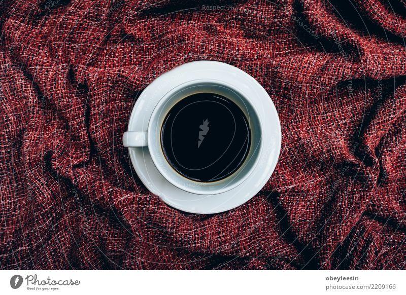 Tasse Kaffee für Morgen, Draufsicht Frühstück Getränk Espresso Leben Stoff alt dunkel heiß natürlich braun schwarz aromatisch Leinen Koffein Grunge rustikal