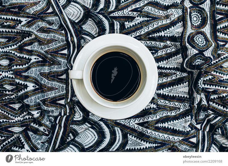 Tasse Kaffee für Morgen, Draufsicht Frühstück Getränk Espresso Leben Tisch Stoff alt dunkel heiß natürlich braun schwarz aromatisch Bohnen Leinen Koffein Grunge