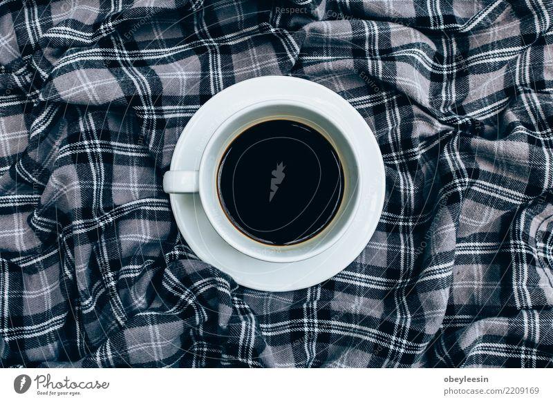 Tasse Kaffee für Morgen, Draufsicht Frühstück Getränk Espresso Leben Stoff alt dunkel heiß natürlich schwarz aromatisch Leinen Koffein rustikal Sack Wittern