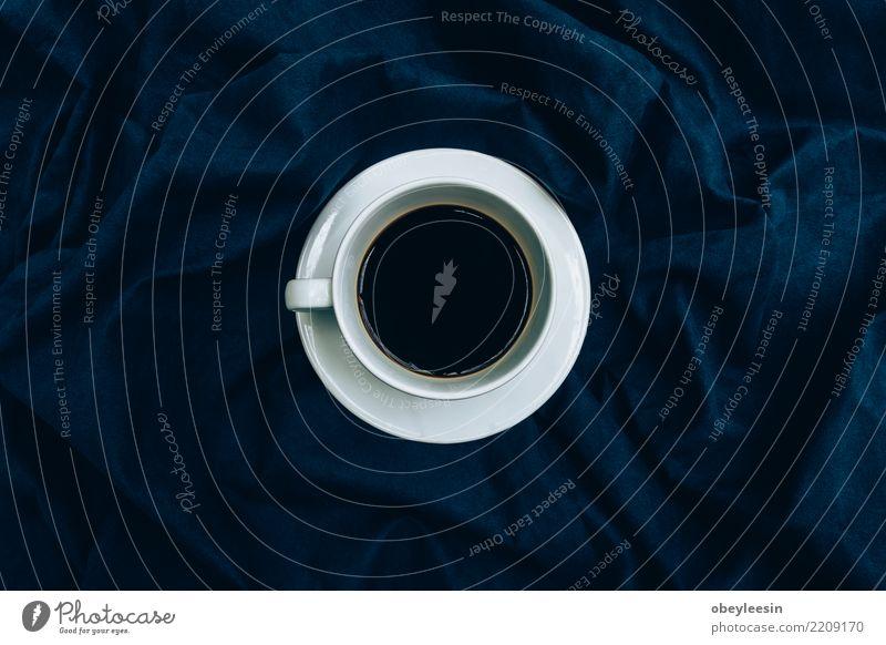Tasse Kaffee für Morgen, Draufsicht Frühstück Getränk Espresso Leben Stoff Holz alt dunkel heiß natürlich schwarz aromatisch Leinen Koffein Grunge rustikal Sack