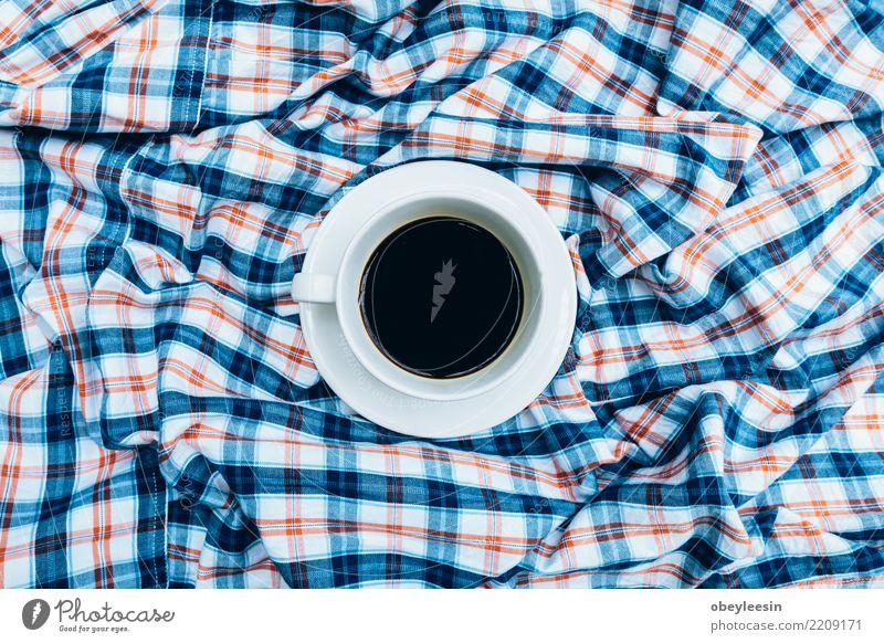 Tasse Kaffee für Morgen, Draufsicht Frühstück Getränk Espresso Löffel kaufen Leben Tisch Küche Stoff Holz alt dunkel heiß natürlich braun schwarz aromatisch