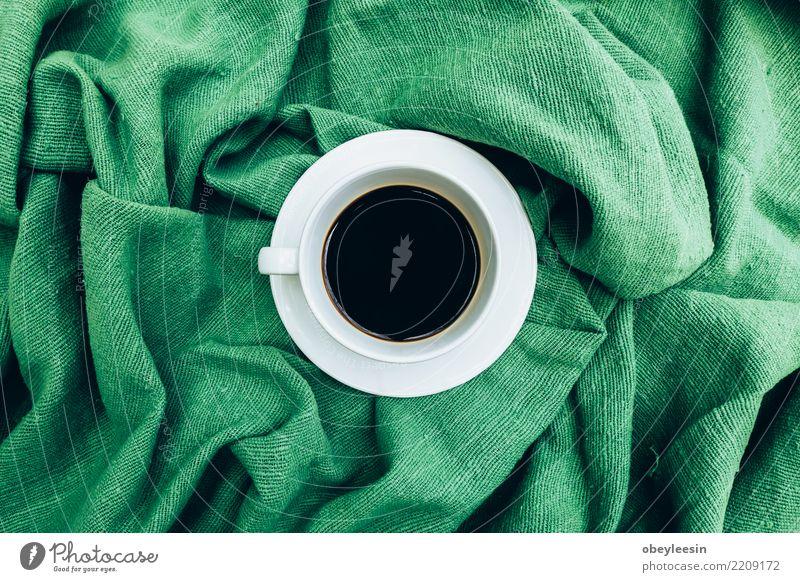 Tasse Kaffee für Morgen, Draufsicht Frühstück Getränk Espresso Leben Stoff alt dunkel heiß natürlich schwarz aromatisch Leinen Koffein Grunge rustikal Sack