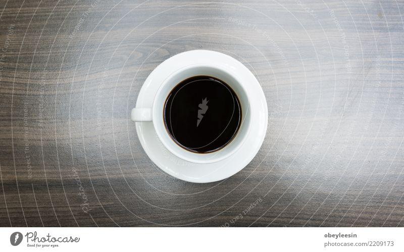 Tasse Kaffee für Morgen, Draufsicht Frühstück Getränk Espresso Leben Tisch Holz alt dunkel heiß natürlich schwarz aromatisch Koffein Becher Sack Wittern
