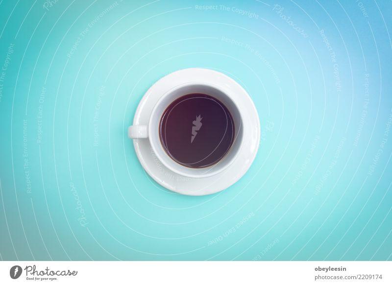 Tasse Kaffee für Morgen, Draufsicht Frühstück Getränk Espresso Leben alt dunkel heiß natürlich schwarz aromatisch Café Koffein Sack Wittern Stillleben