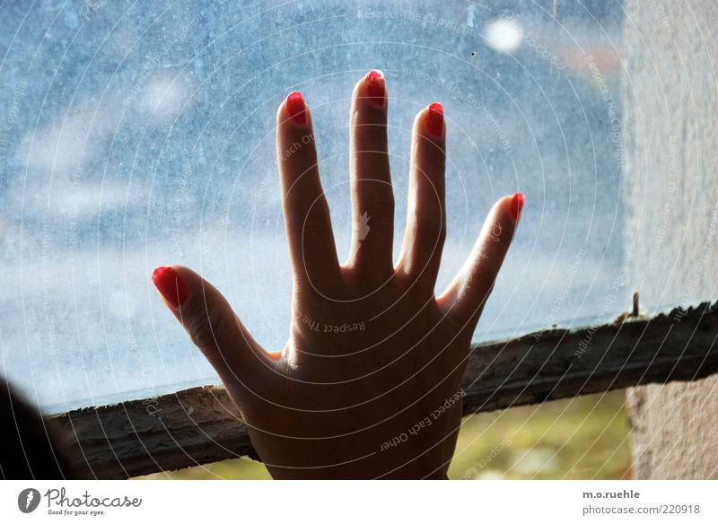 adieu Mensch Junge Frau Jugendliche Hand Finger Fingernagel 1 Glas Hoffnung Traurigkeit Liebeskummer Gruß Abschied winken Fensterscheibe Nagellack rot warten
