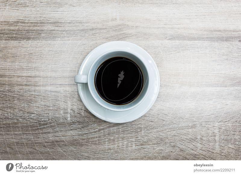 Tasse Kaffee für Morgen, Draufsicht Frühstück Getränk Espresso Leben Tisch Holz alt dunkel heiß natürlich braun schwarz aromatisch Koffein rustikal Sack Wittern