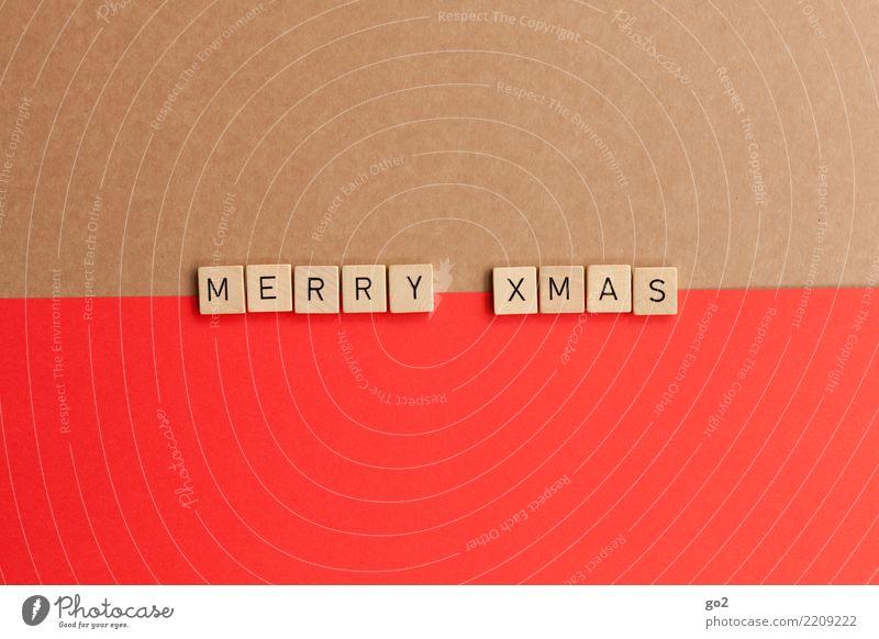 Merry Xmas Weihnachten & Advent rot Spielen braun Design Schriftzeichen Dekoration & Verzierung ästhetisch Kreativität einzigartig Idee Geschenk Vorfreude