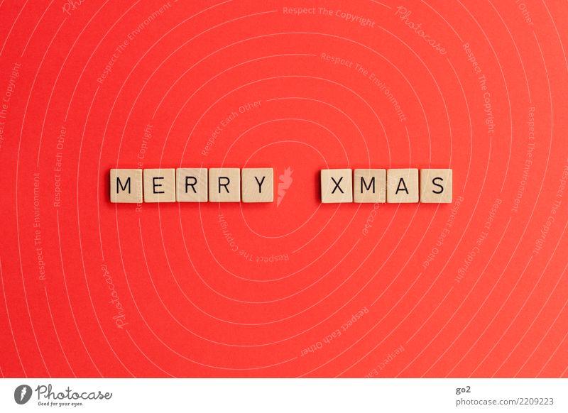 Merry Xmas Weihnachten & Advent rot Holz Spielen Schriftzeichen Wunsch Vorfreude Englisch Brettspiel