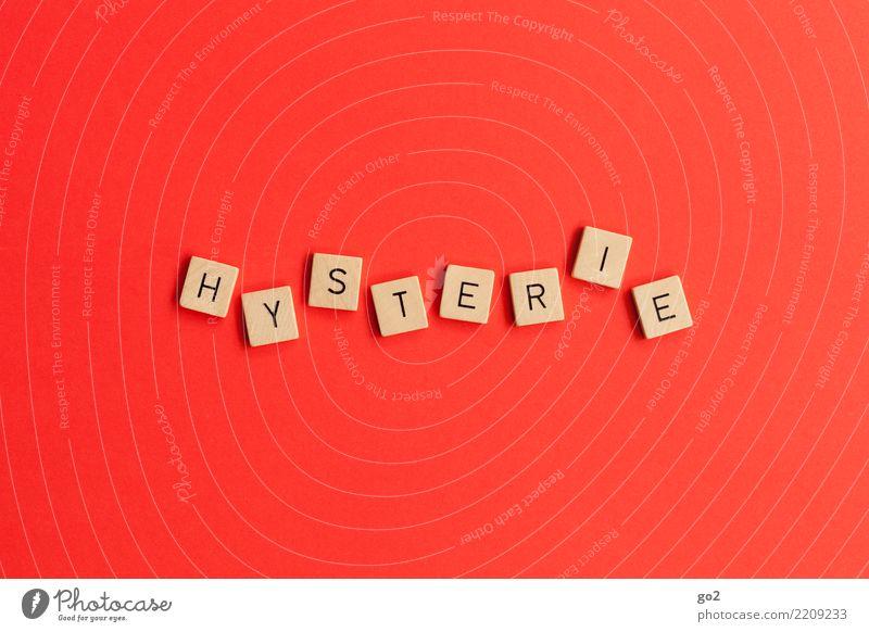 Hysterie rot Spielen Angst Schriftzeichen verrückt gefährlich bedrohlich Todesangst Zukunftsangst Stress Konflikt & Streit chaotisch Irritation
