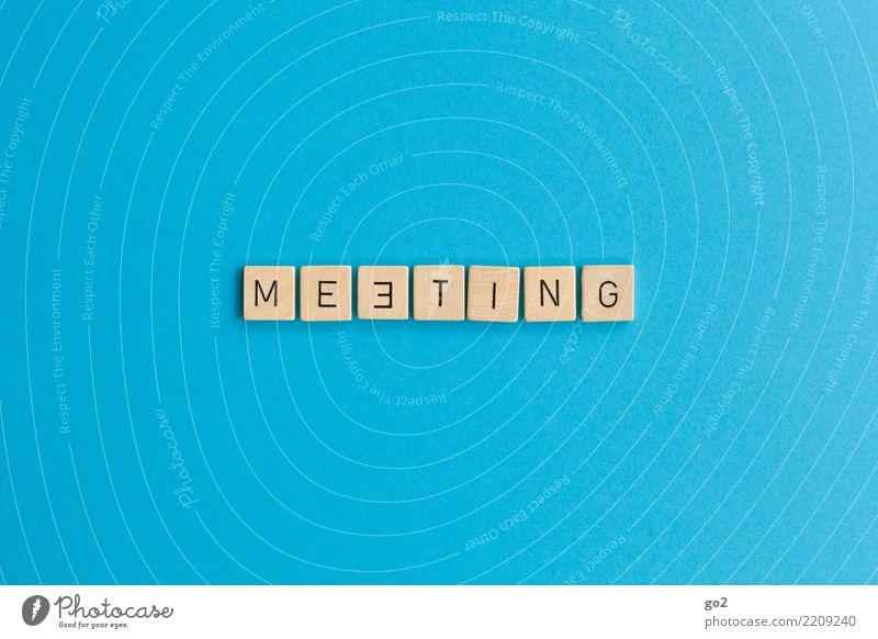 Meeting blau sprechen Spielen Business Zusammensein Arbeit & Erwerbstätigkeit Büro Schriftzeichen Kommunizieren Erfolg Team Zusammenhalt Netzwerk Kontakt