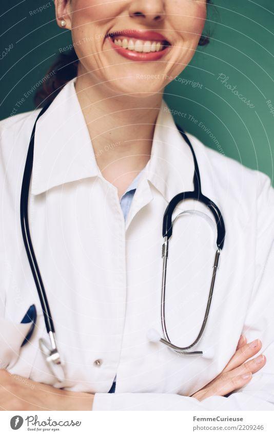 Doctor 35 Arbeit & Erwerbstätigkeit Beruf Arzt feminin Frau Erwachsene 1 Mensch 30-45 Jahre kompetent Erfolg Kittel Schutzbekleidung Arbeitsbekleidung
