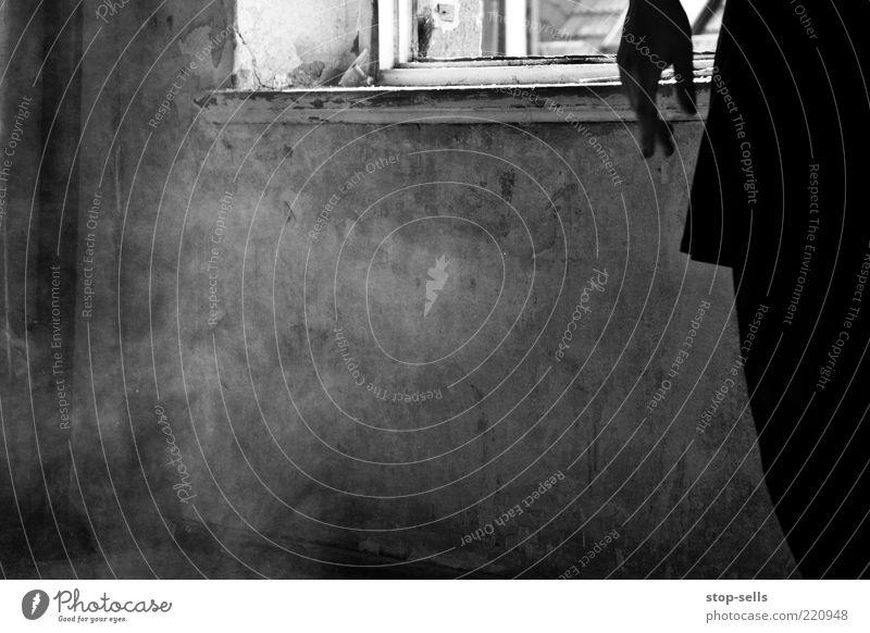 Reste der dunklen Tänzerin I feminin Frau Erwachsene Hand Finger 1 Mensch Kleid authentisch Surrealismus Tanzen Rauch schwarz Mauer Raum Fensterrahmen Staub