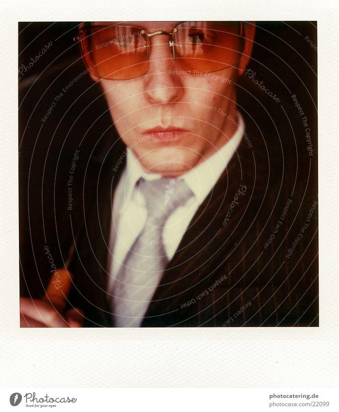 ich, eine brille und der schirm Erfolg Business Mann Erwachsene Mode Anzug Krawatte Brille Coolness kalt seriös Erotik Nadelstreifen Schrim edel Geschäftsmann