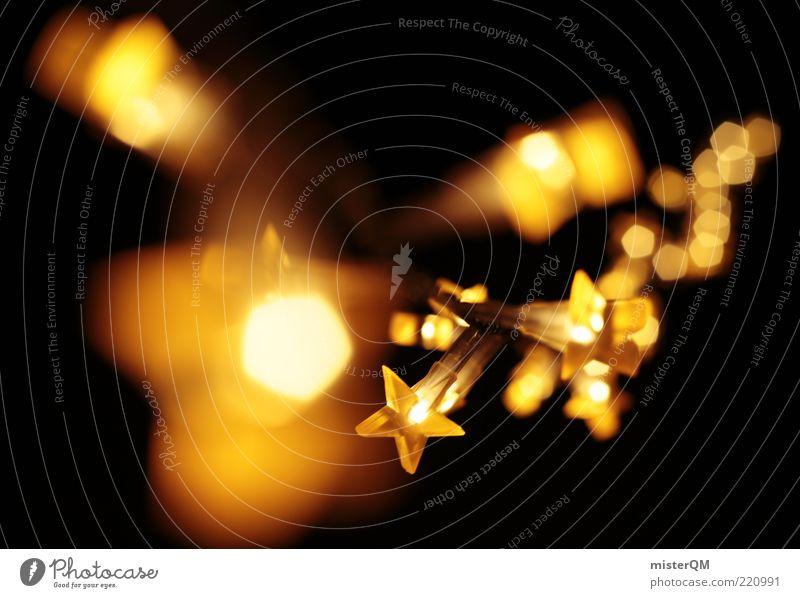 Goldene Weihnacht. Weihnachten & Advent Winter schwarz dunkel Wärme hell Beleuchtung Feste & Feiern Kunst ästhetisch Kitsch Dekoration & Verzierung gemütlich Geborgenheit erleuchten