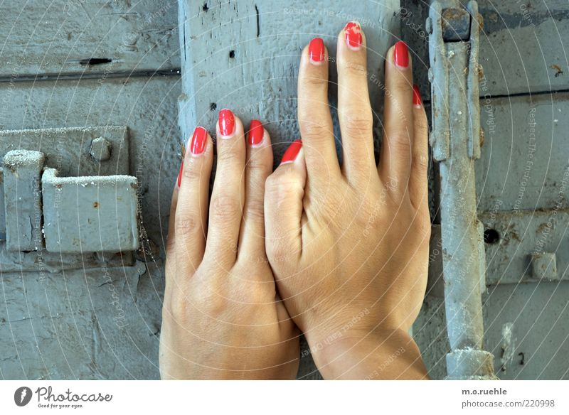 zart versperrt Mensch Hand Jugendliche schön feminin Holz grau Kraft Erwachsene Tür Finger berühren Fingernagel schließen blockieren drücken