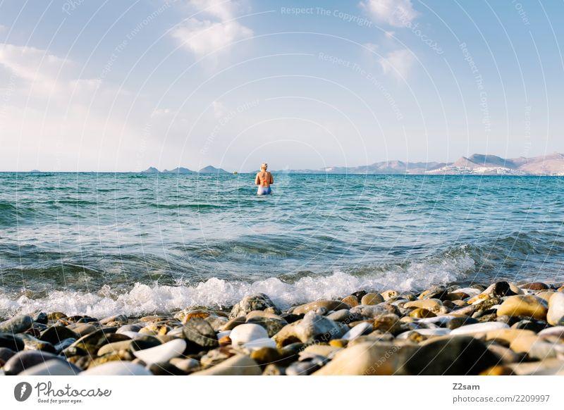 Kos Sommerurlaub Meer Junge Frau Jugendliche 18-30 Jahre Erwachsene Natur Landschaft Wasser Himmel Schönes Wetter Berge u. Gebirge Küste Insel Schwimmen & Baden