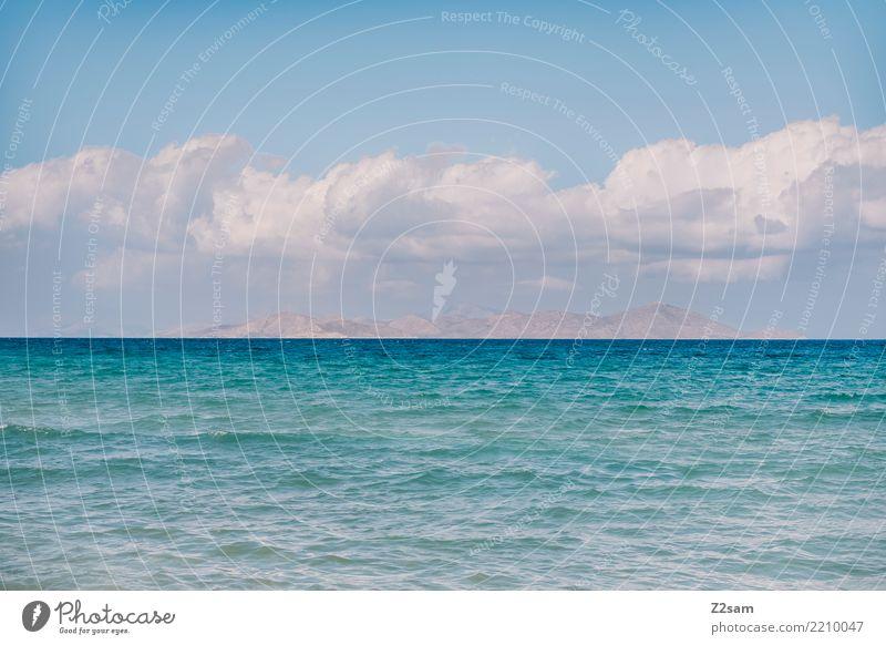kalymnos Meer Umwelt Natur Landschaft Himmel Horizont Sommer Schönes Wetter Berge u. Gebirge Küste Insel natürlich Wärme blau türkis Farbe Idylle Perspektive