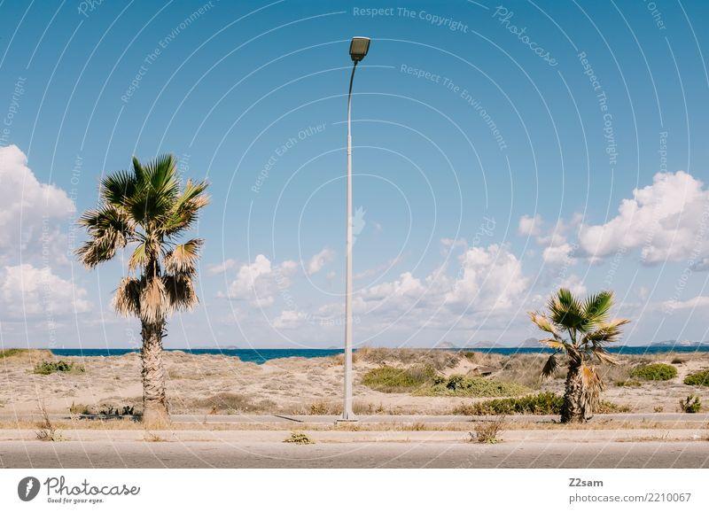 griechischer urbanismus Ferien & Urlaub & Reisen Sommerurlaub Meer Natur Himmel Schönes Wetter Palme Küste Straßenbeleuchtung Verkehrswege ästhetisch einfach