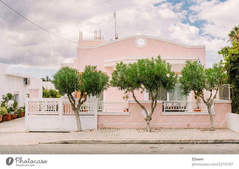 Kos City Stadt grün Baum Haus Architektur Gebäude rosa Design ästhetisch Ordnung einzigartig Dorf Kitsch Tradition mediterran Nostalgie