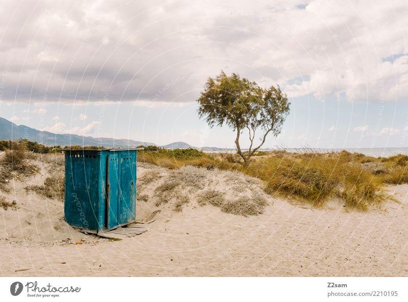 Umkleide Meer Natur Landschaft Sand Himmel Wolken Sommer Baum Sträucher Strand einfach natürlich gelb grün ruhig Einsamkeit Erholung Ferien & Urlaub & Reisen