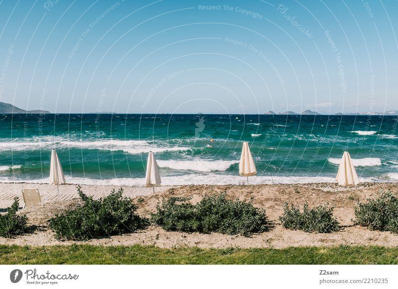 freie Platzwahl Himmel Natur Ferien & Urlaub & Reisen blau Sommer Landschaft Meer Erholung Einsamkeit ruhig Strand natürlich Sand Wellen Idylle Sträucher